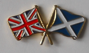 Great Britain and Scotland Friendship Flag Pin Badge